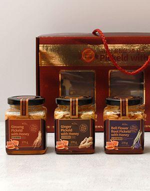참선비마을 국내산 생강, 인삼, 도라지 꿀절임 3종 세트