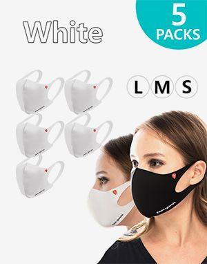 (한국산) 기능성 패션 흰색 마스크 5개묶음 (개별포장) Performance Fashion Mask White, Non Returnable 무료배송