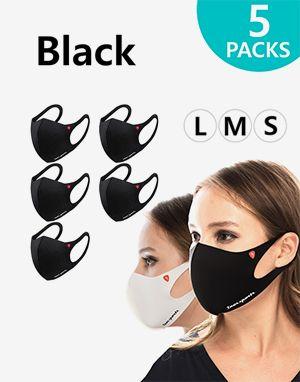 (한국산) 기능성 패션 블랙 마스크 5개묶음 (개별포장) Performance Fashion Mask Black, Non Returnable 무료배송