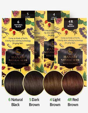 식물성 천연재료 하나 염색약 Hanah Natural Herb Water Coloring (4가지 컬러) 리필용 $30 (구매시 EXTRA 한팩 무료 증정!)
